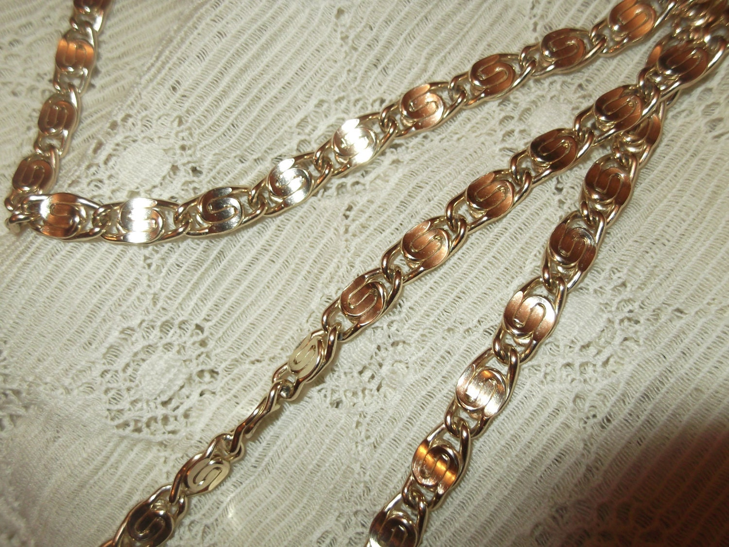Gold Plated S Link Chain  S Link Necklace Vintage Necklace Vintage Chain