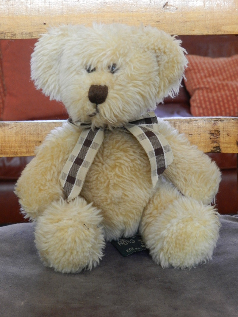 KIPLING Teddy Bear RUSS. Vintage Teddy Bear 1990s 8 inch Cuddly Collectible Teddy Bear. Fully Mobile limbs  Heirloom Gift for Granddaughter