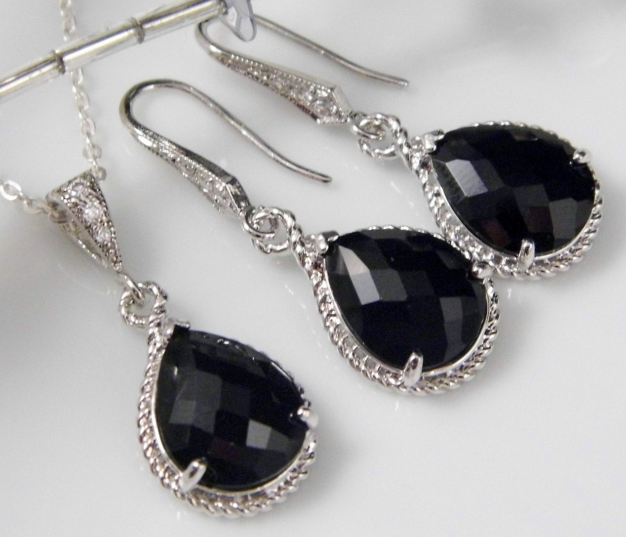 Silver Black Teardrop Czech Glass Crystal Necklace and Earring Set Bridesmaids Jewelry, Bridal Jewelry REF-601