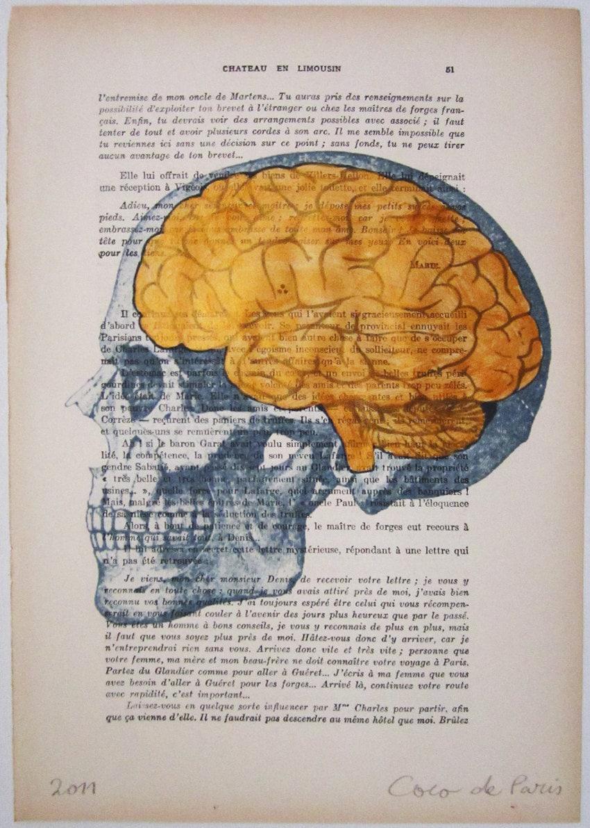 """Золотые мозги, оригинальные произведения искусства ручной росписью Смещаная 'La Petit Иллюстрация """"1920 известный журнал Parisien"""