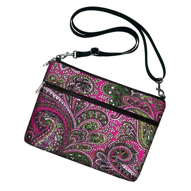 SLING PURSE with adjustable strap -- versatile padded handbag/case fits Amazon Kindle DX with cover -- also fits Netbooks / Mini Laptops -- Vibrant Pink Paisley -- PROMO SALE reg 60