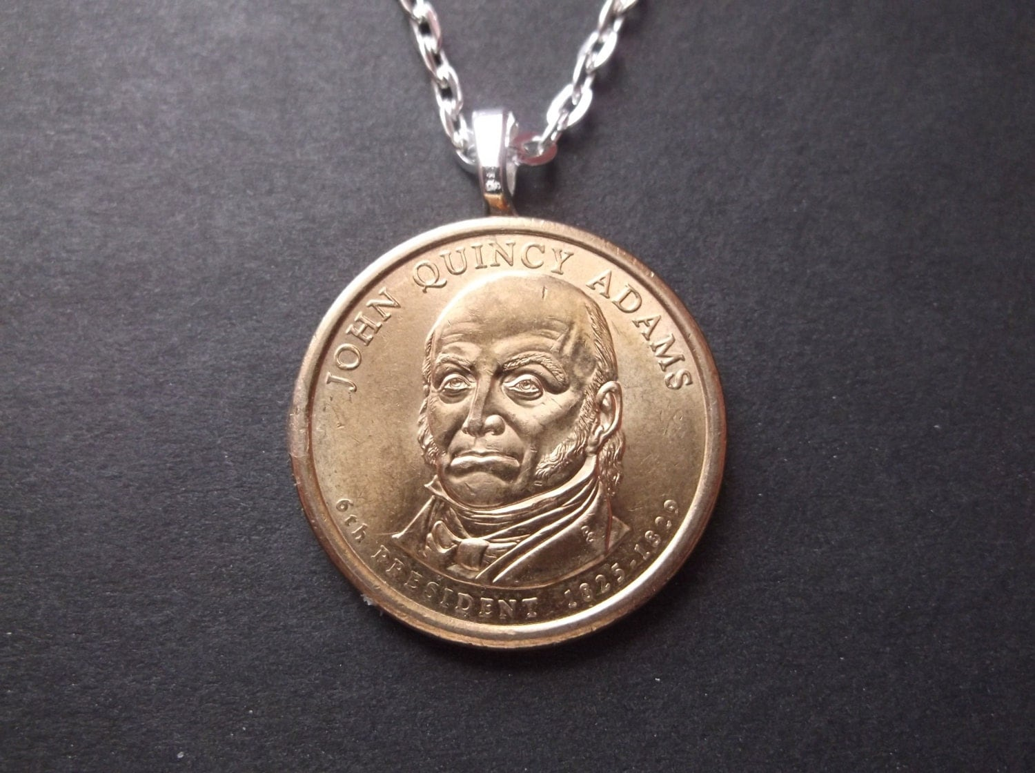 Quincy (IL) United States  city images : Quincy Adams United States Gold Colored Dollar Coin Necklace United ...