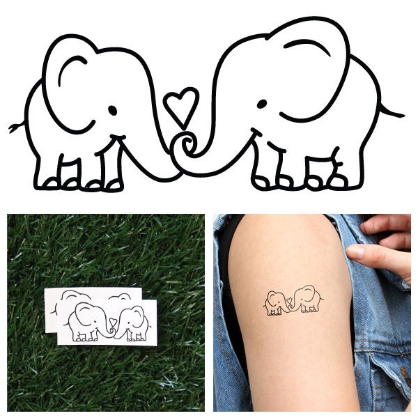 Elephant couple temporary tattoo set of 2 by tattify on etsy for Temporary elephant tattoo