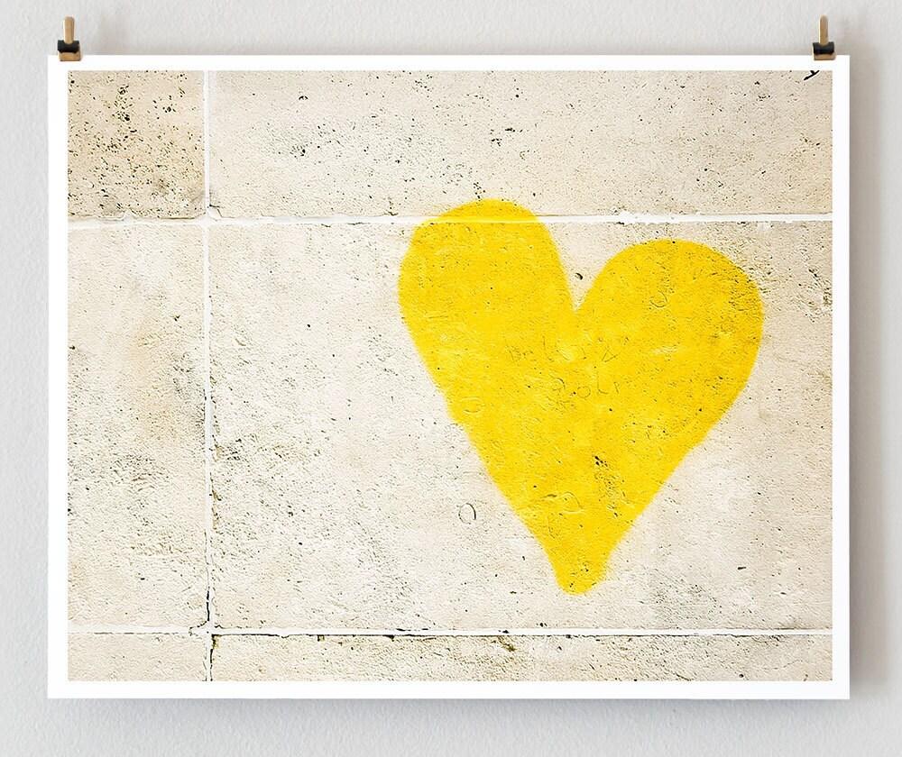 Paris Graffiti, Yellow Heart  -  Wall Art Yellow - 16x20 Paris Photo - French Fine Art Photography Art Print - Paris Decor - Kids Art - TheParisPrintShop