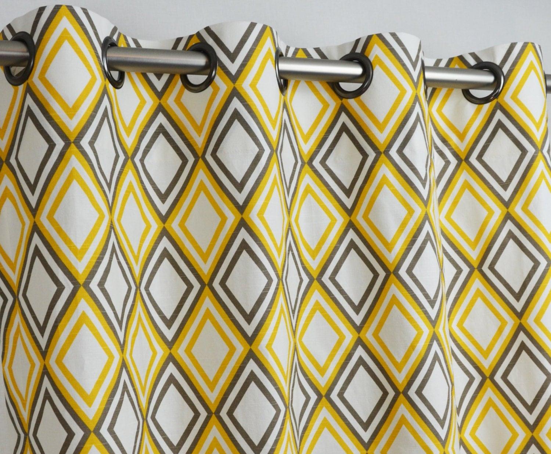 Pair Of Grommet Top Curtains In Corn Yellow Kelp By Zeldabelle