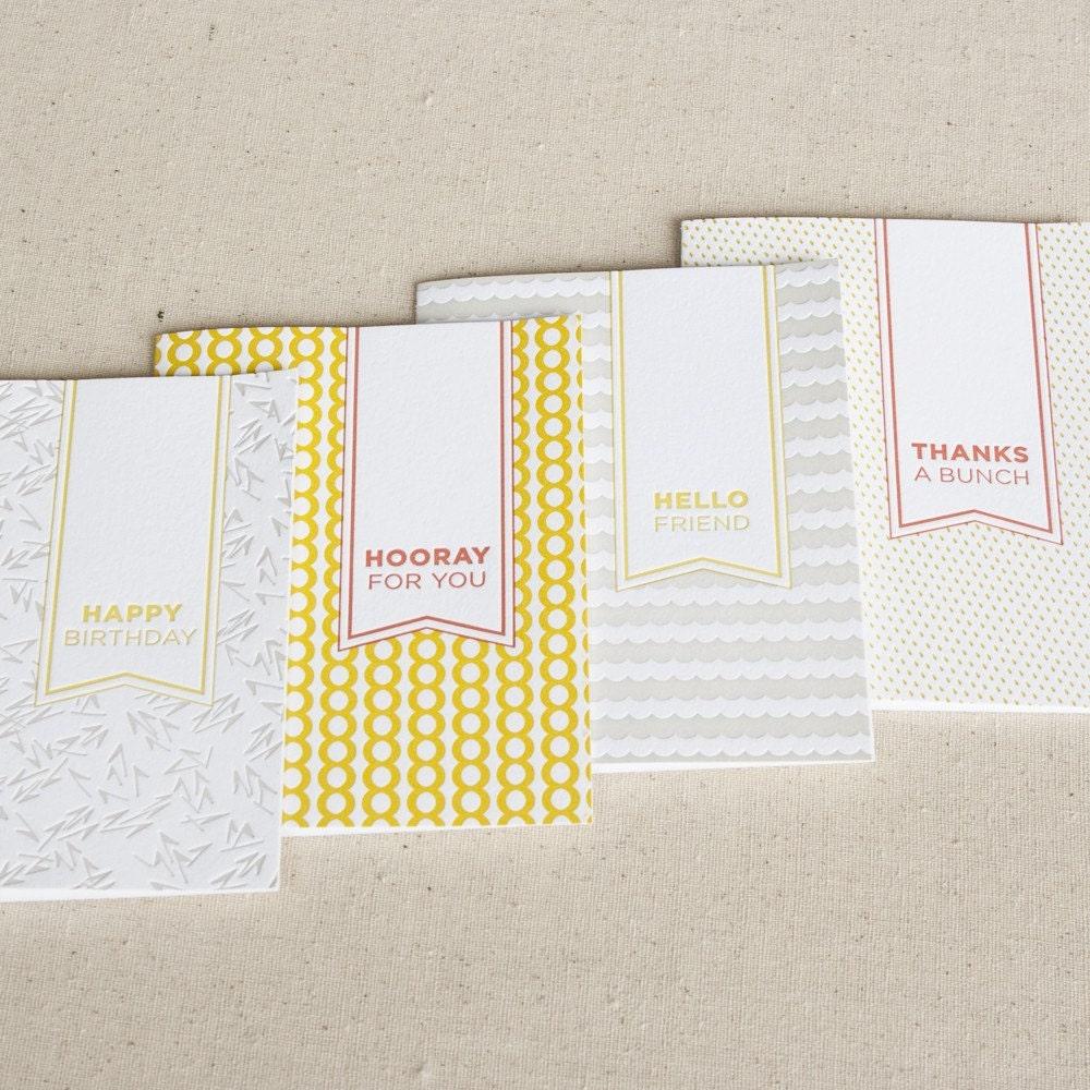 multi-pack. 4-pk letterpress cards
