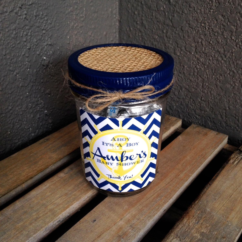 baby shower 8 oz mason jar favor set of 4 nautical themed mason jar