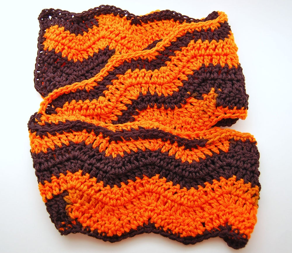 Crochet Scarf, Zig Zag, Ripple, Chevron - Black and Orange - Halloween ...