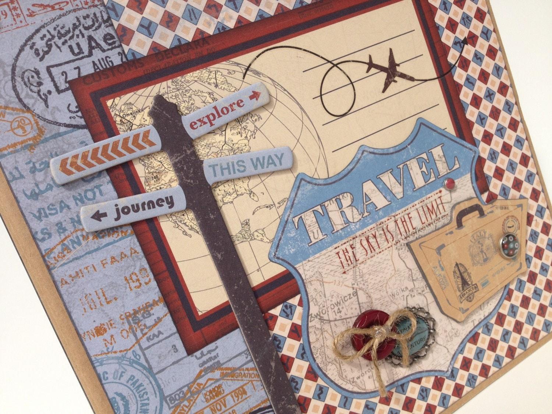 sale travel scrapbook album kit by artsyalbums on etsy. Black Bedroom Furniture Sets. Home Design Ideas