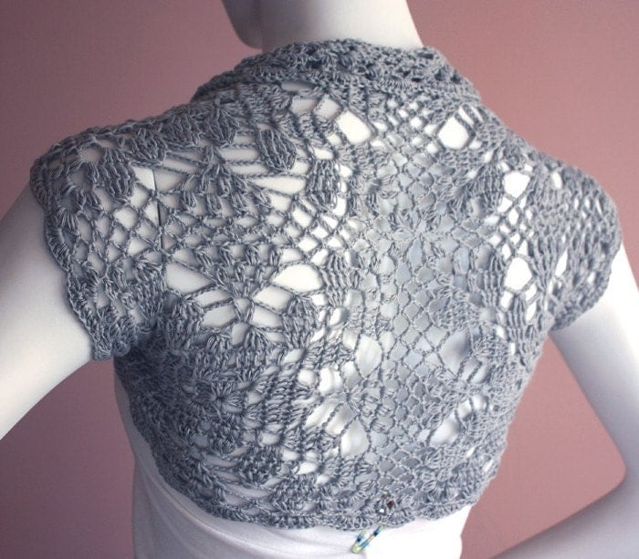 Silk Bamboo Shrug hand knit /crochet bolero grey gray Wedding bridal party accessory -Size M- made-to-order custom 12 colors