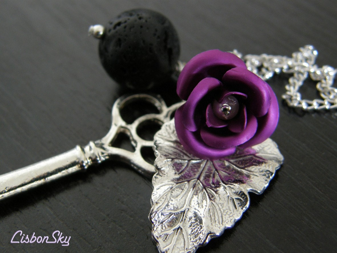 Lauren Lava Rock and Rose Necklace