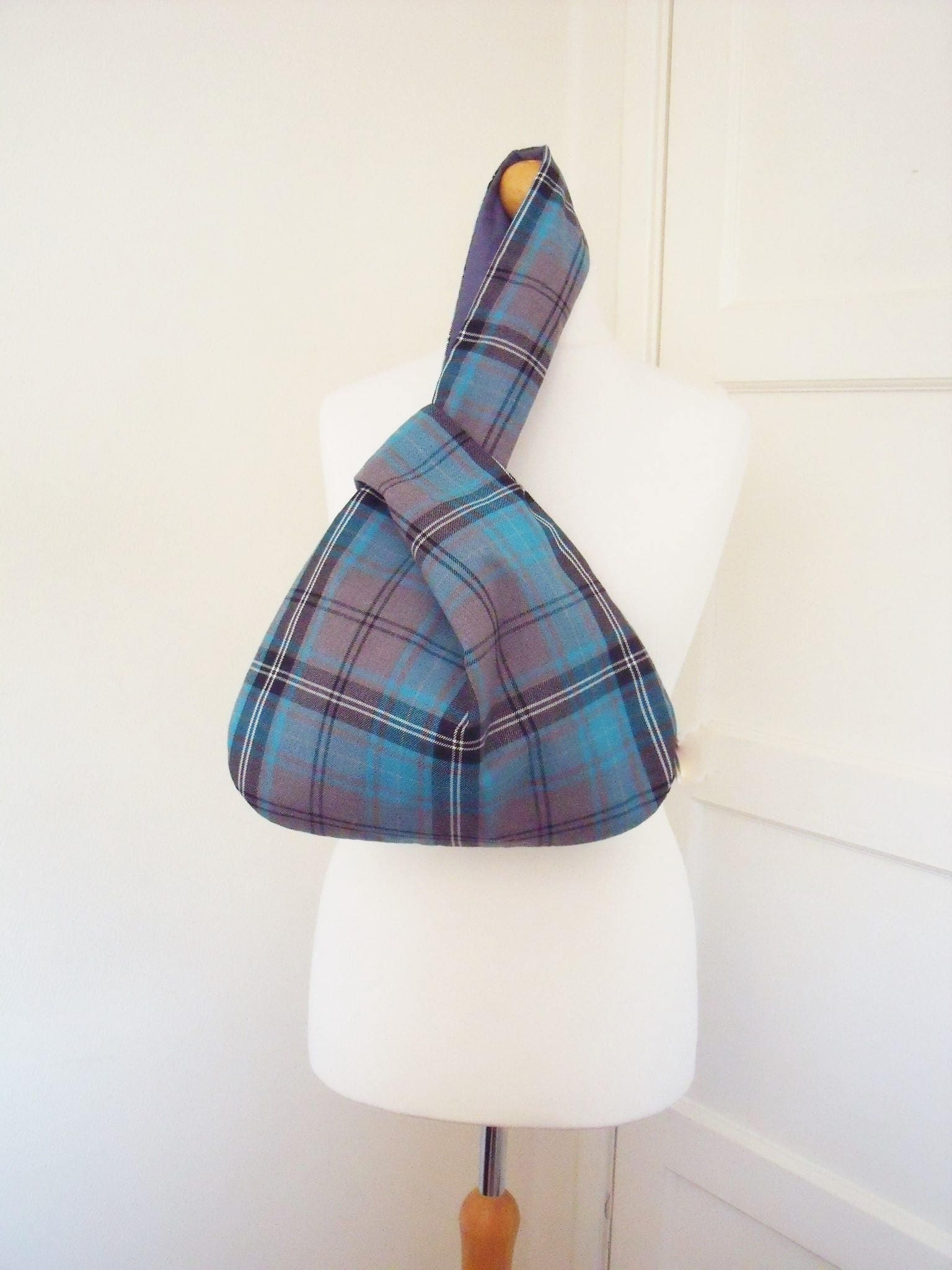 Large Tartan Japanese Knot Bag  Purse Turquoise  Grey plaid knitting  crochet bag beach bag hobo shoulder bag handmade
