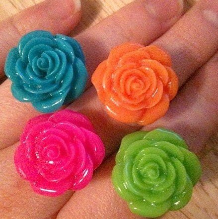 Pretty Bright Pick-Me-Up Rose Adjustable Ring (Choose One Only)