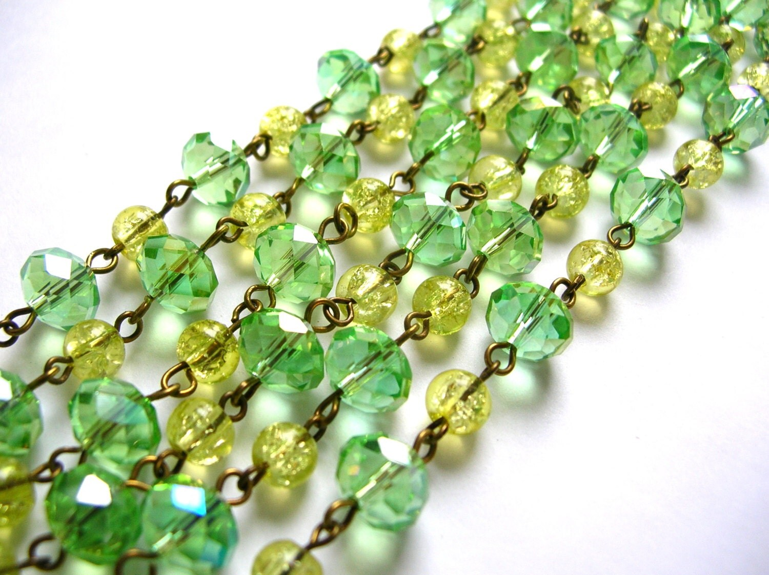 Lime Green bead chain 3 feet - 2VintageGypsies