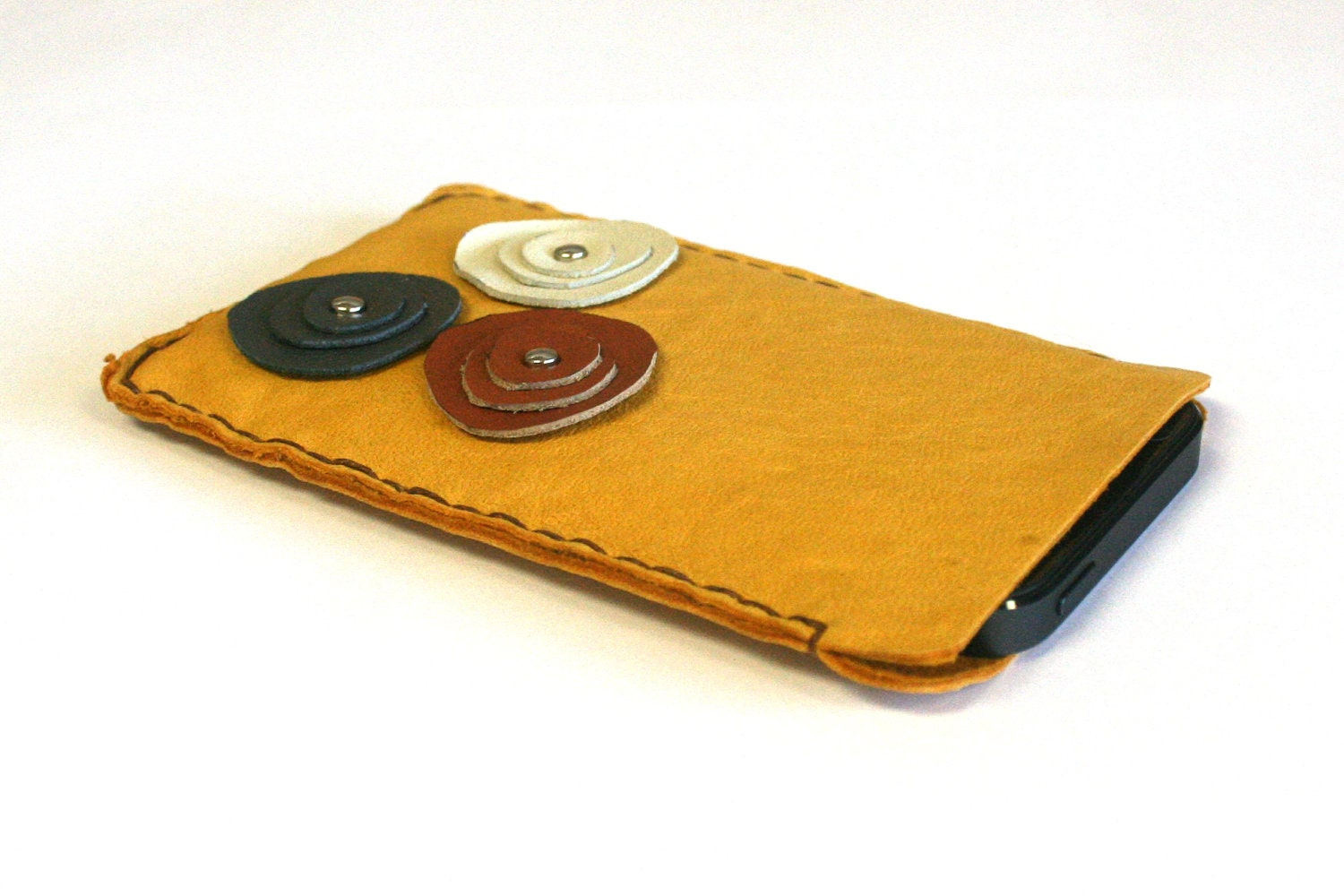 golden leather iPhone case with multi colored leather flowers