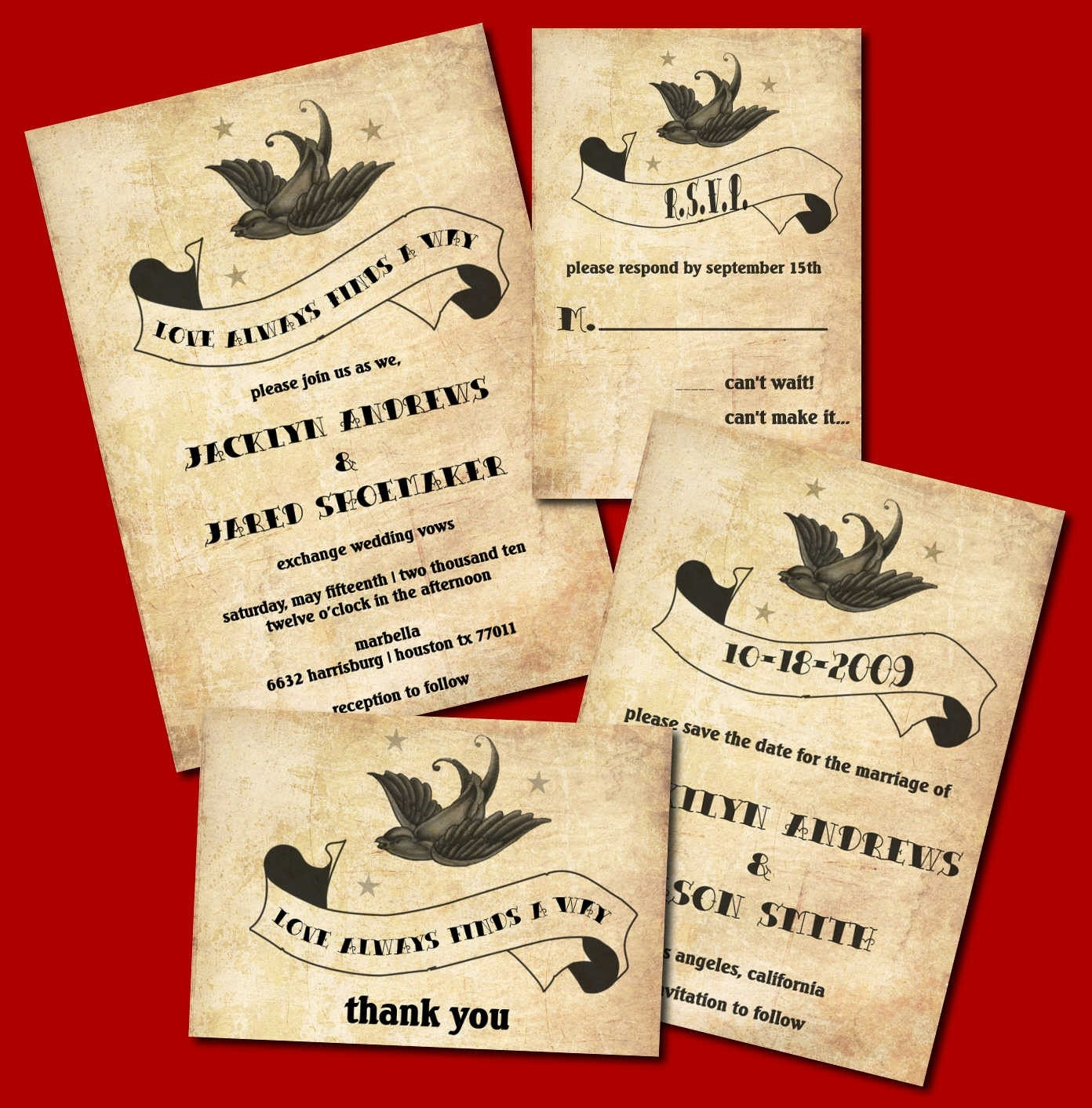 Milan Parade Mode Rockabilly Wedding Invitation Set Featuring A Sparrow Banner And Stars