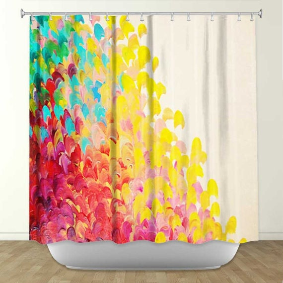 Creation in color fine art painting shower curtain by Colorful shower curtains