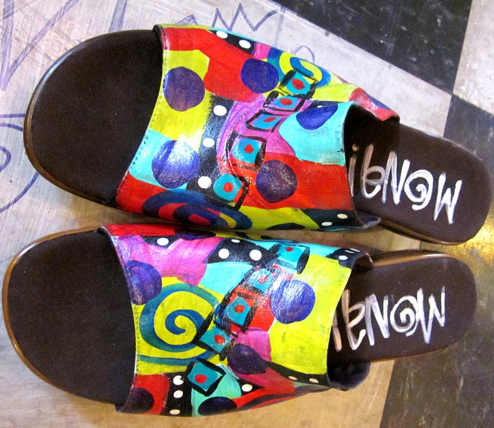Hand Painted Sandals Size 10