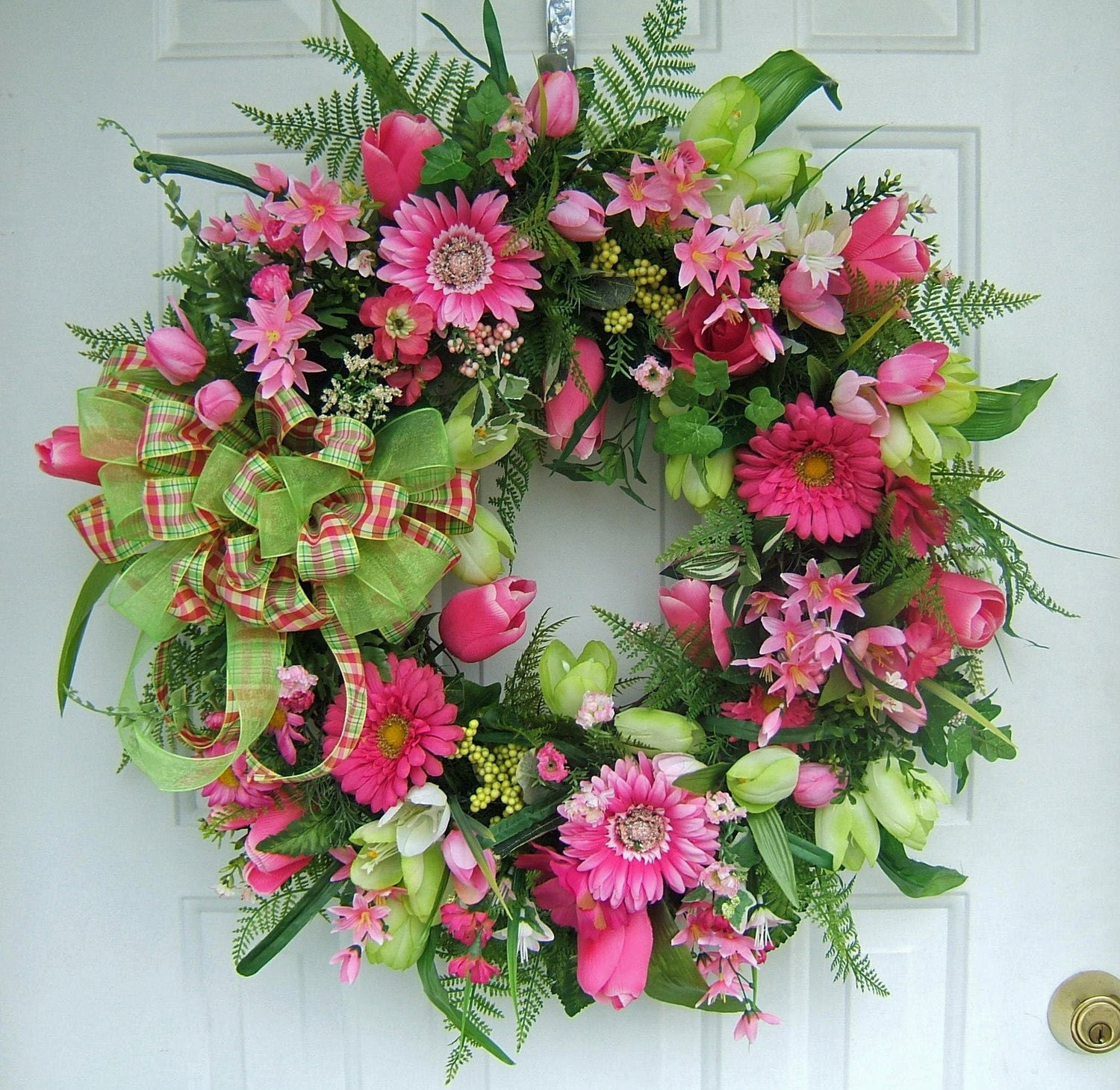 Last one beautiful spring wreath custom order by Spring flower arrangements for front door