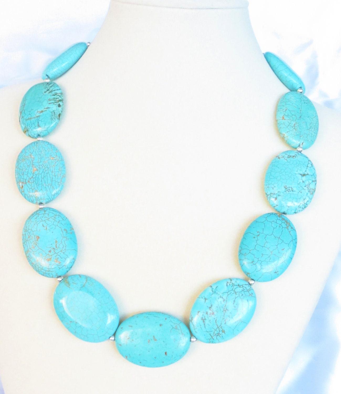 big bold chunky turquoise necklace by wildflowersandgrace