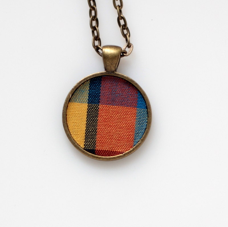 Handmade Necklace Plaid Vintage Fabric Pendant OOAK