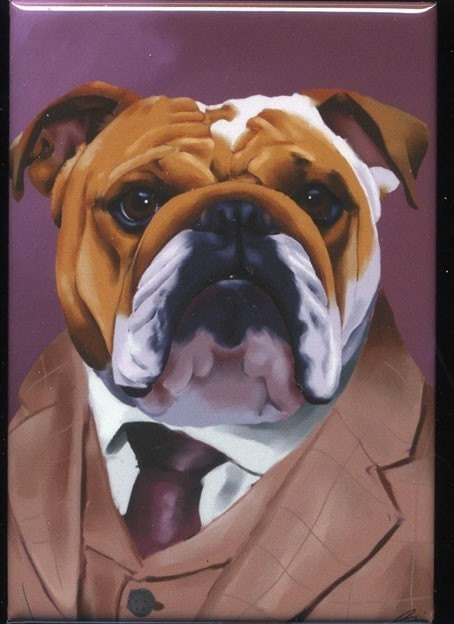 Items similar to English Bulldog Dressed cute dog art ...