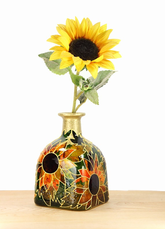 Hand Painted Glass Patron Bottle Sunflower By Sylwiaglassart