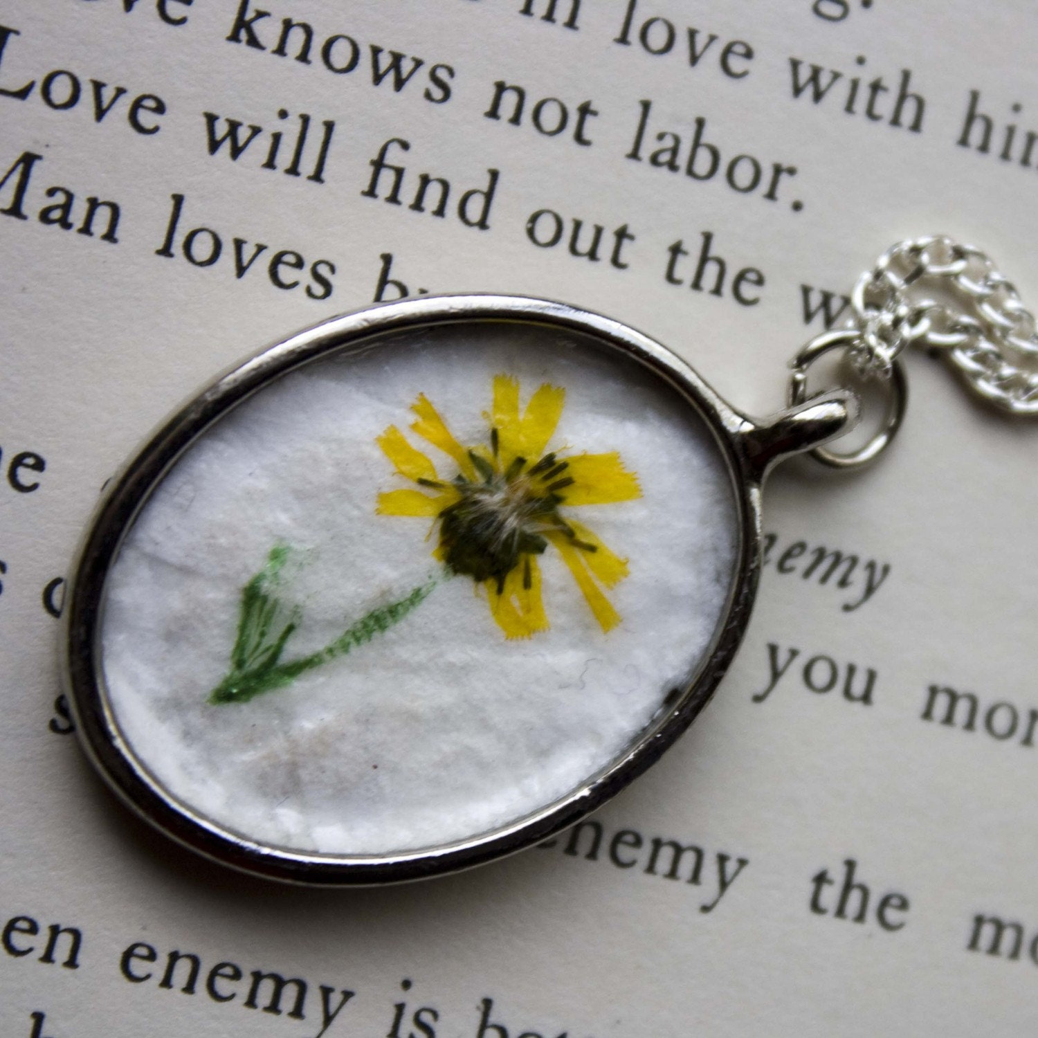 Golden Wildflower with a hand drawn stem - Real Botanical Jewelry with Handmade Paper