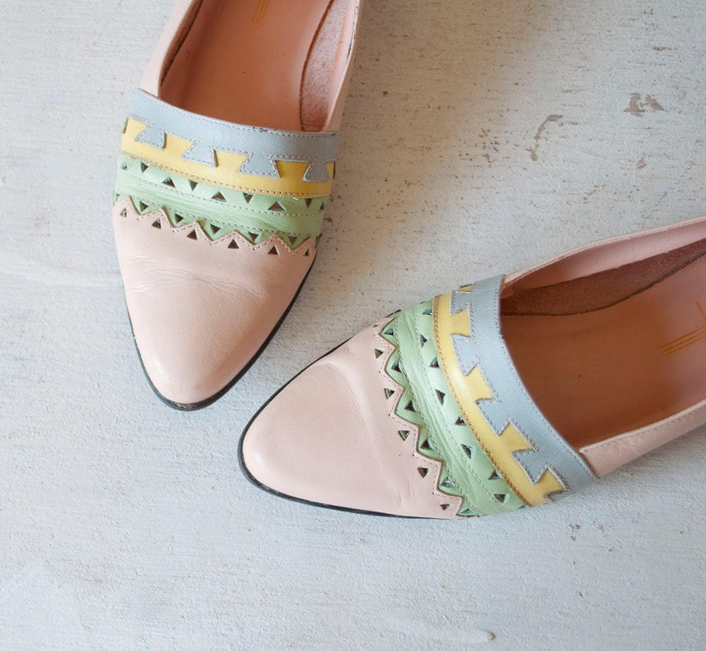 Vintage Pink TRIBAL Geometric Leather Flats by MariesVintage from etsy.com