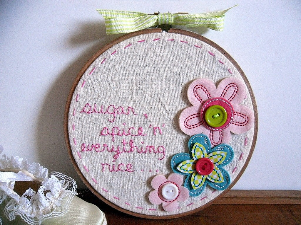 Hand Embroidered Nursery Decor Needlework Sugar and Spice Hoop by The Career Scrapper on Etsy