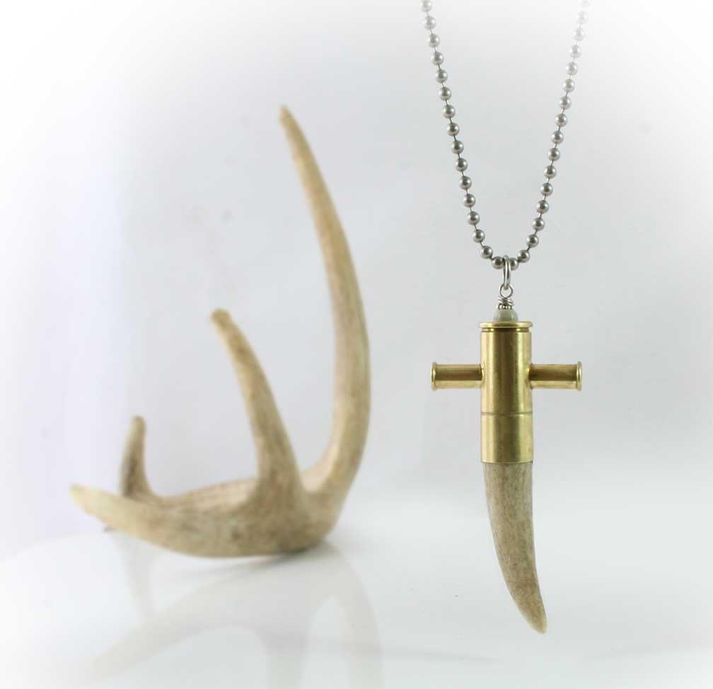Antler cross necklace bullet cross colt 45 cowboy cross natural