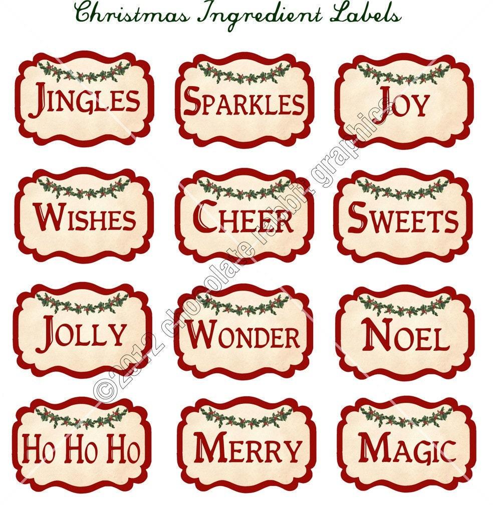 Vintage Christmas Ingredient Labels Digital by chocolaterabbit
