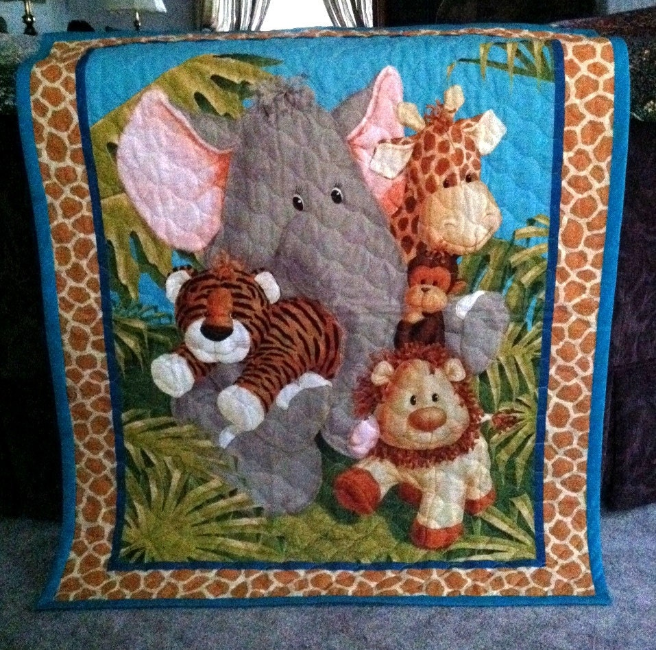 Jungle Baby Quilt Panel Blanket Nursery By Designsbydiblankets