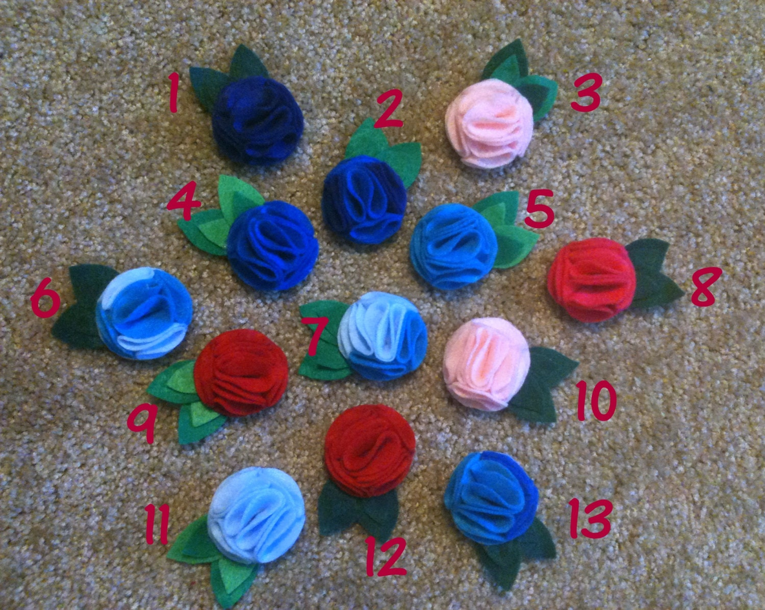 Medium Felt Flower Hair Clips