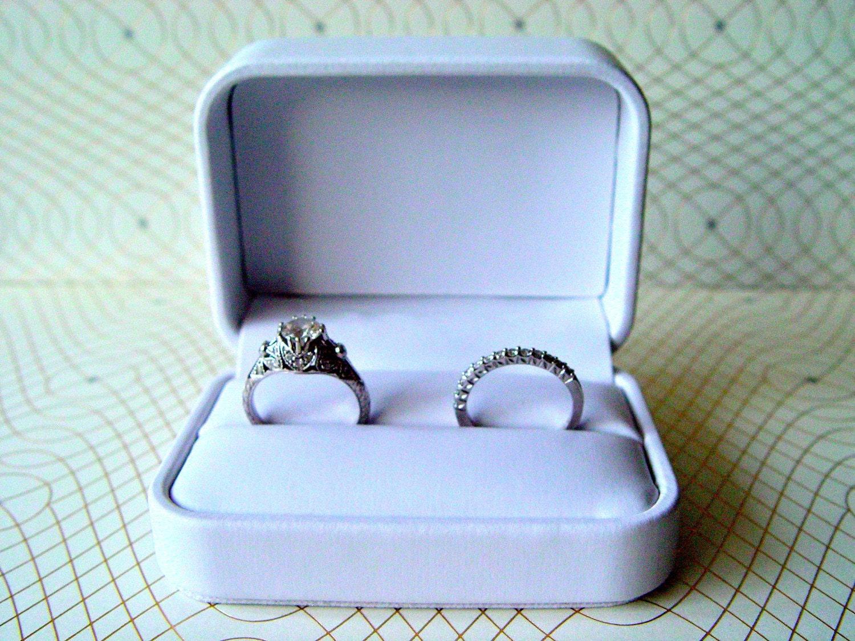 Cloudy Azure -  Ring Pillow Box aqua, blue, caramel, white Swarovski crystal