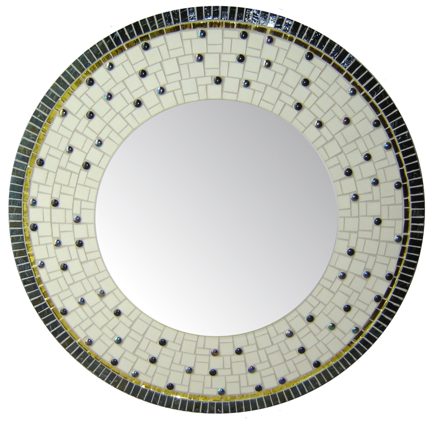 Items similar to large round mosaic mirror off white for Large white round mirror