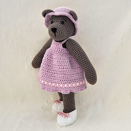 PDF Crochet Pattern - 10 inch Bear and  Outfits 1 - dress, hat and shoes