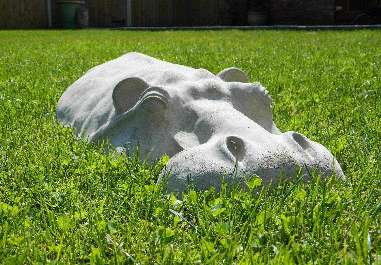Hippopotamus large garden ornament hippo sculpture 27 by martsart - Cement cloth garden ornaments ...
