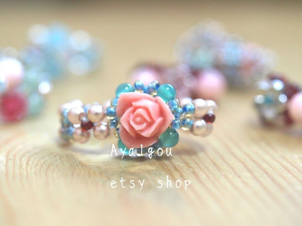 dainty salmon pink rose ring