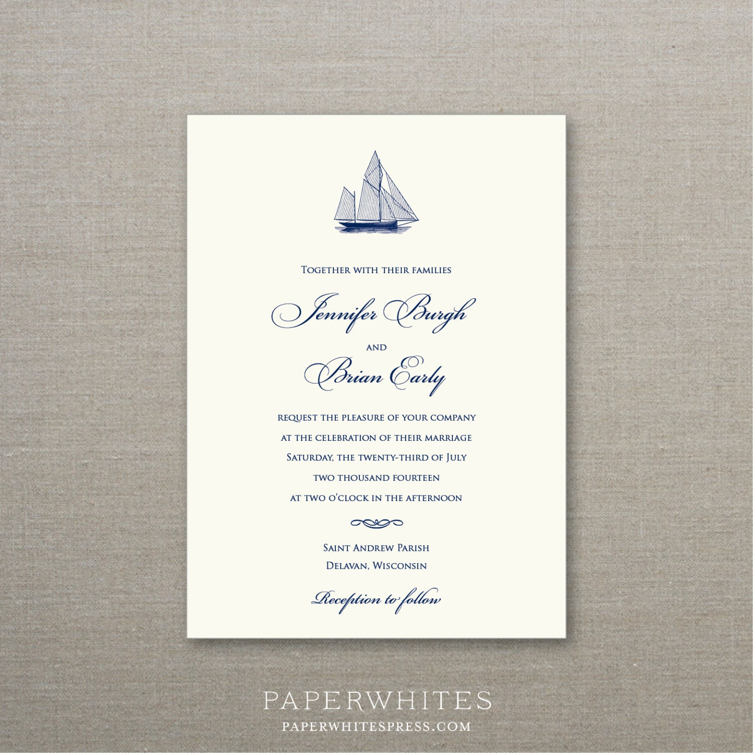 Sailboat Nautical Theme Wedding Invitations By