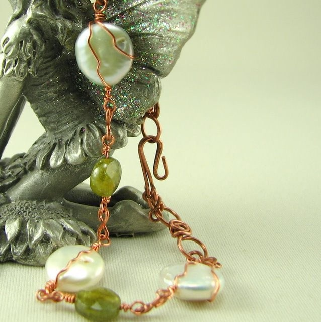Grossular Garnet Coin Pearl Bracelet  in Copper
