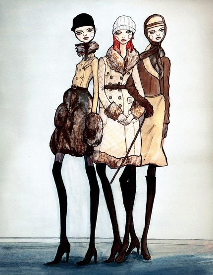 Girls in Coats 13inx19in Art Print