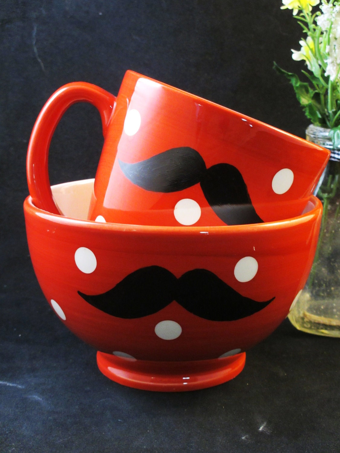 Kiln Fired Good Morning Mustache Mug and Bowl Breakfast Set Red Polka Dots- Handpainted - kaoriglass