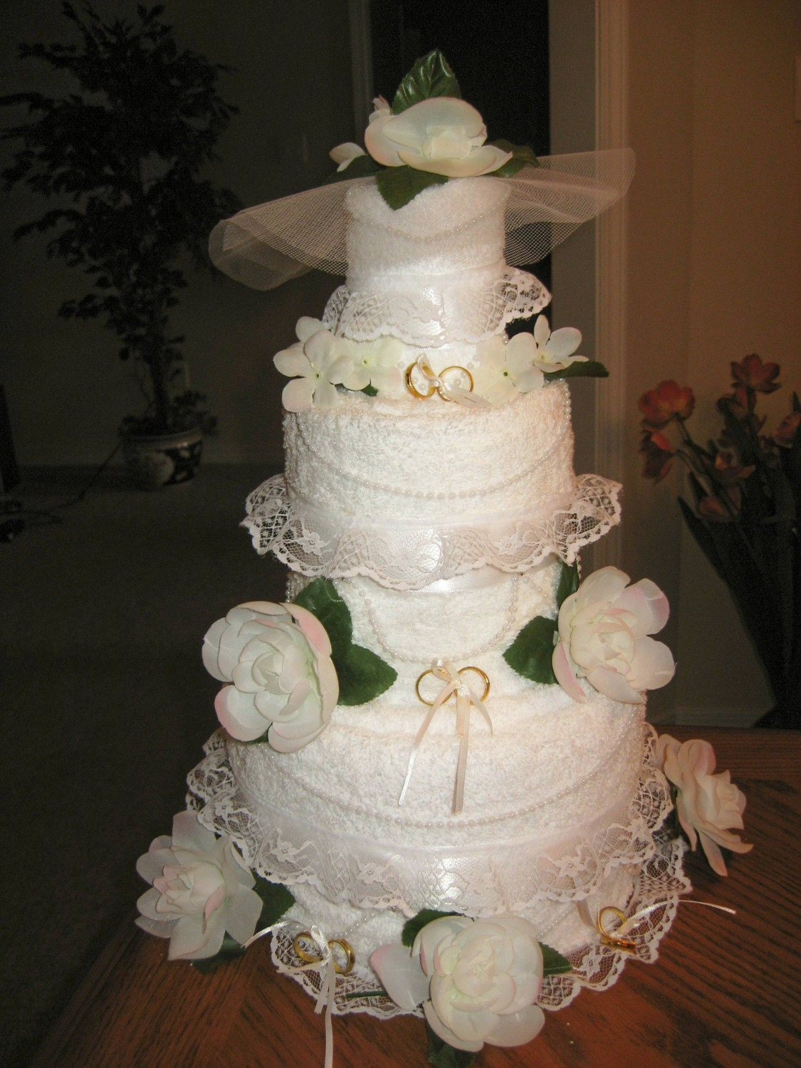 Elegant Towel Wedding Cake
