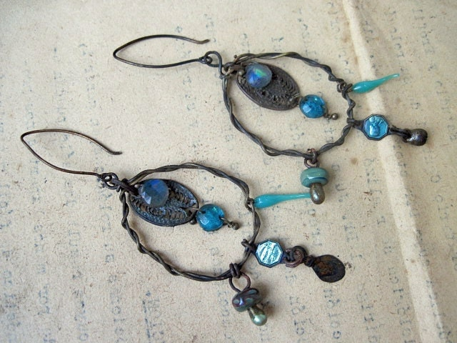 The Alchemy of Happiness. Teal Vintage Assemblage Dangles with Labradorite.