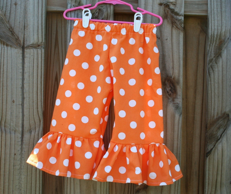 Large Dot Orange Ruffle Pants.................the PERFECT addition to any wardrobe