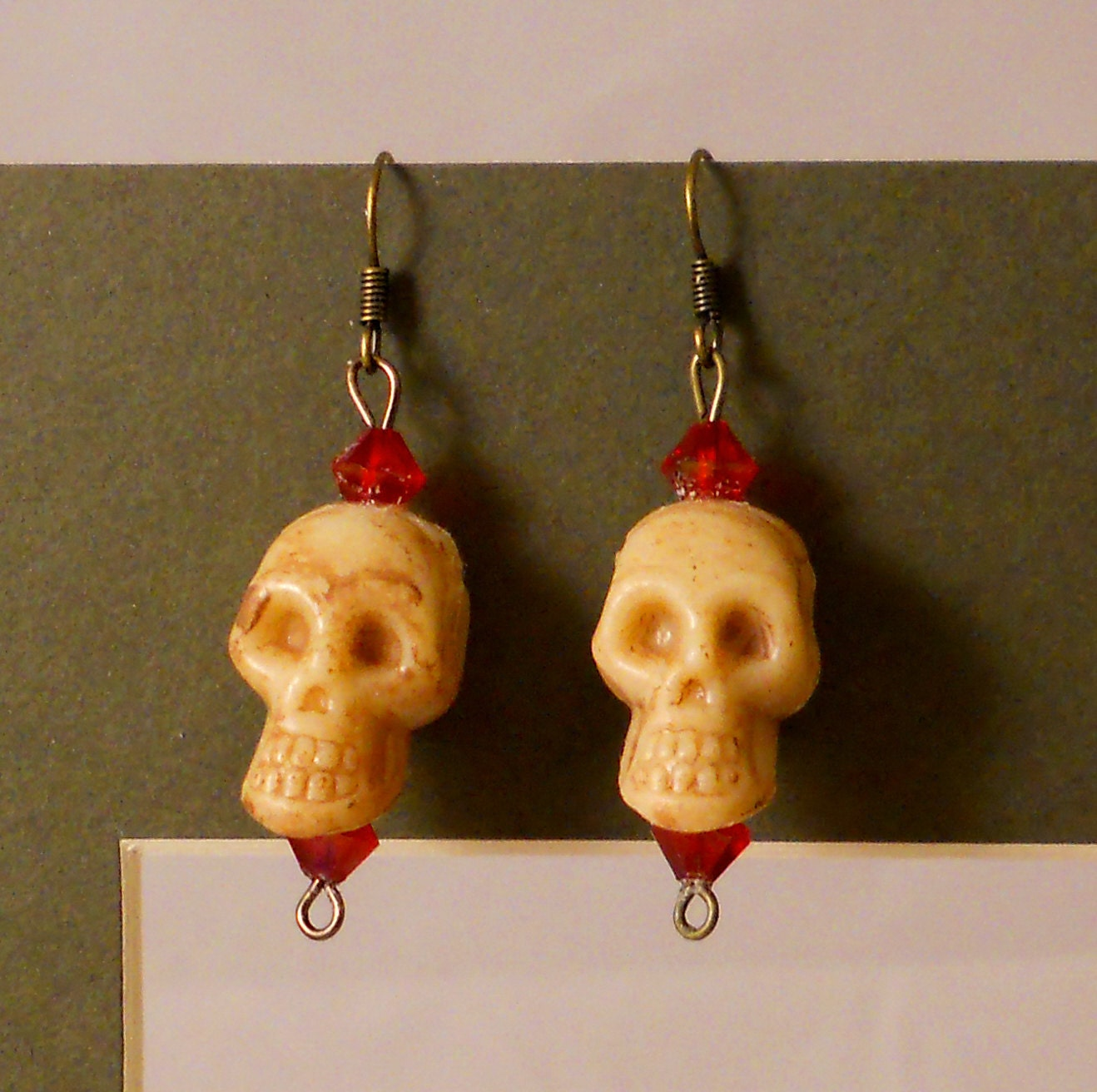 Blood Red SWAROVSKI Crystals and SKULLS Dangling Earrings -- 3D Halloween Gothic Jewelry Bones Beaded Steampunk