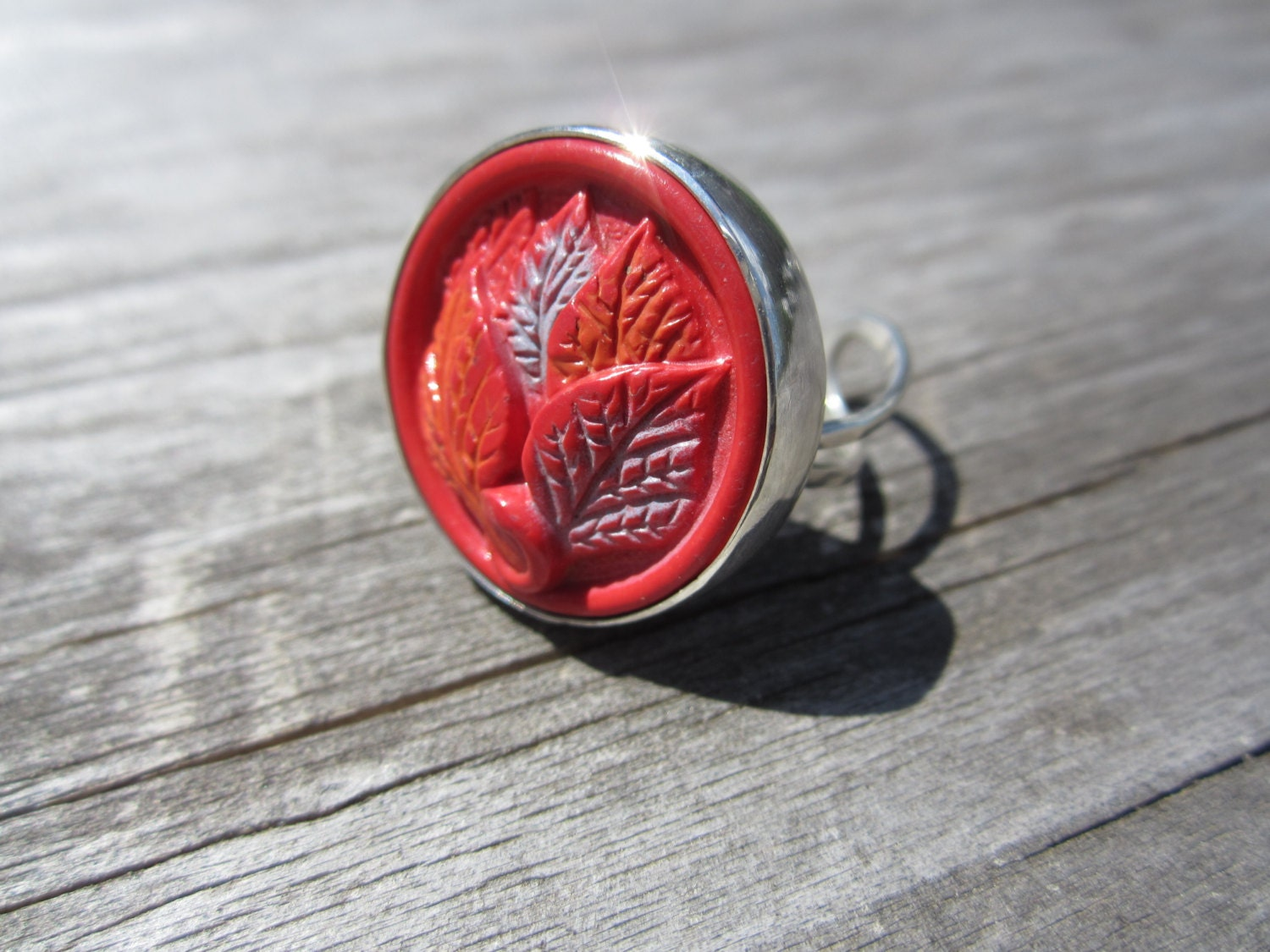 Eco Friendly Vintage Button Statement Ring Sterling Silver Hand Fabricated Bezel Set Adjustable One Of A Kind Red Orange Light Blue Leaves - MadMeadowMetals