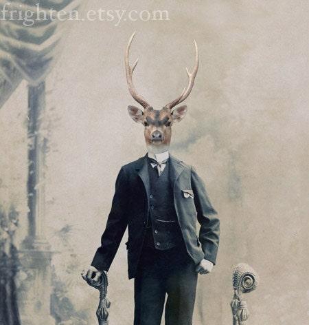 Deer Art, Mixed Media Collage Print, Deer Boy, Altered Victorian Portrait, For Him, frighten