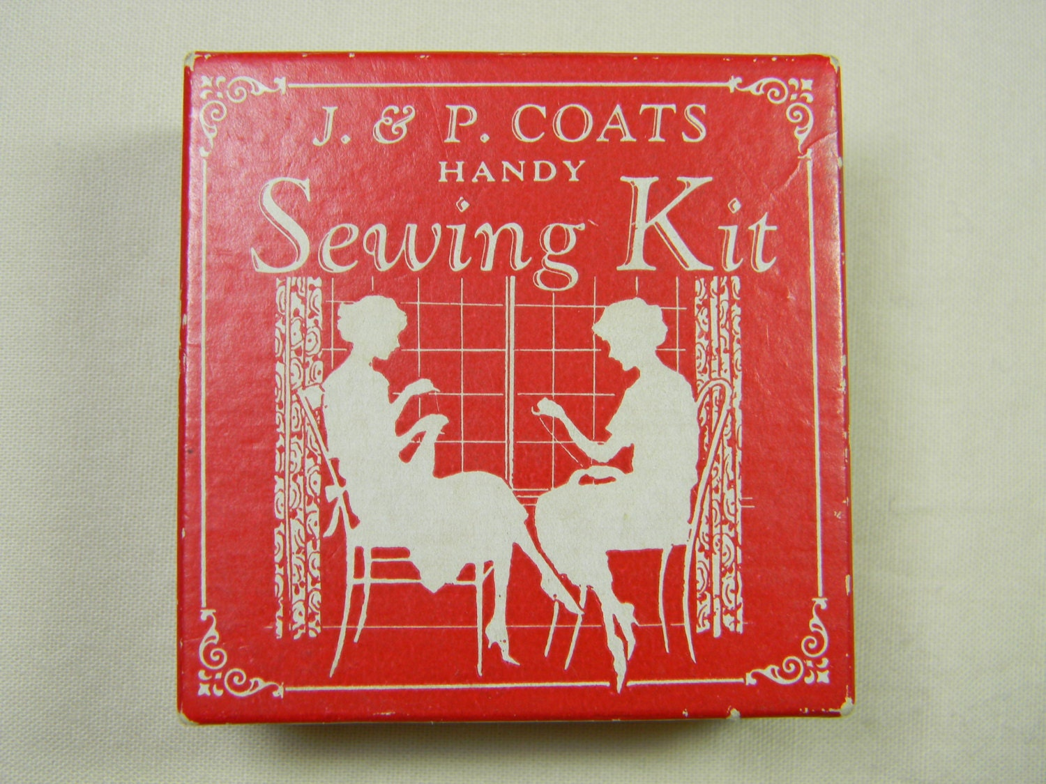Vintage Red J and P Coats Handy Sewing Kit - Patalier